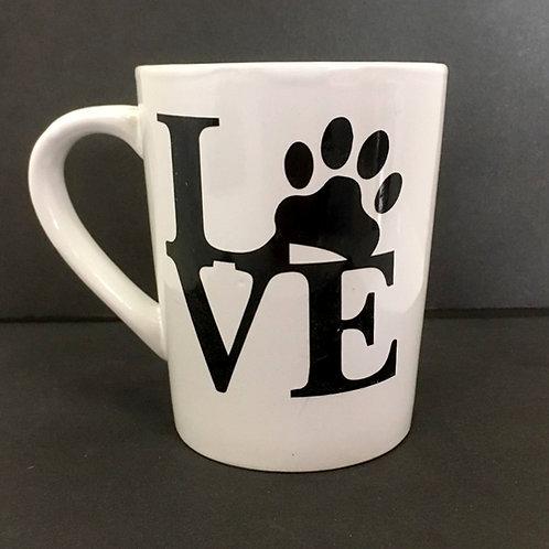 Love (with paw) - White Ceramic Mug