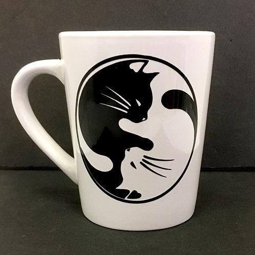 Cat Head Yin Yang  - White Ceramic Mug