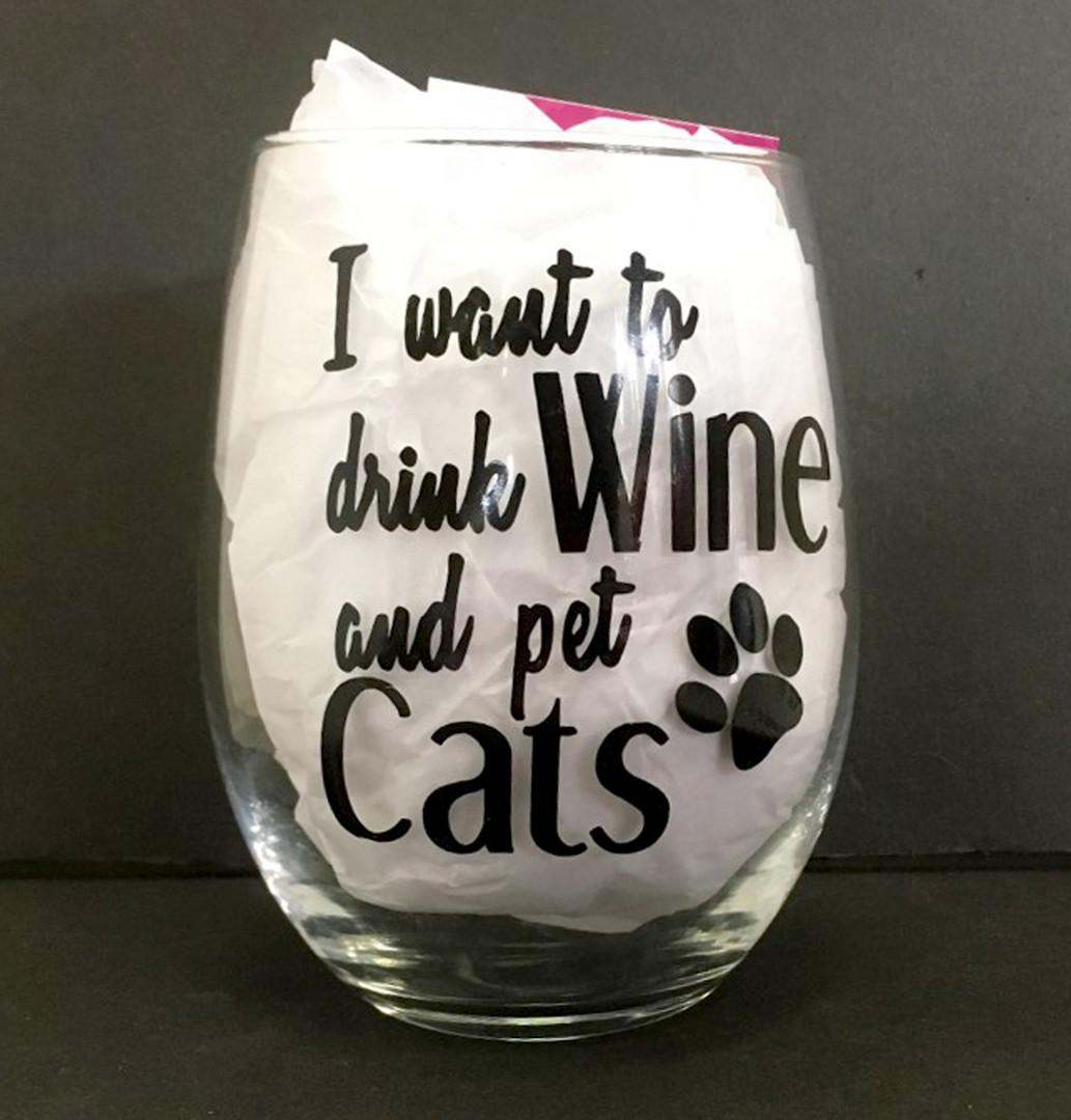 Drink Wine, Pet Cats Wine Glass