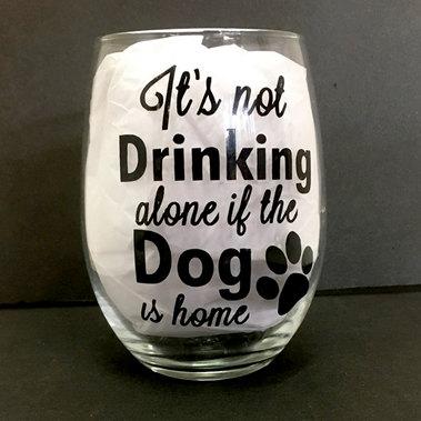 Drinking Alone Dog Stemless Wine Glass
