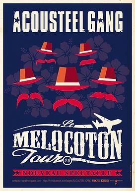 """ACOUSTEEL GANG Affiche """"Melocotón Tour 2.0"""""""