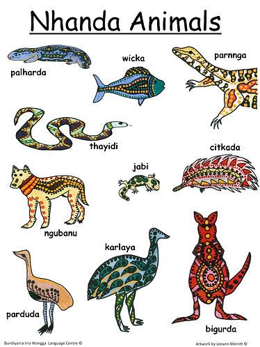 Nhanda Animals (topical poster)