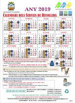 Calendari de recollida de fem, paper i cartó per a l'any 2019.