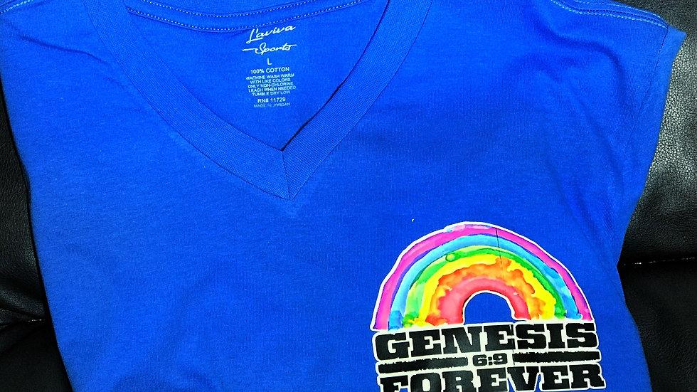 Genesis Forever Rainbow V-Neck Pocket Logo T-Shirts