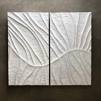 diptyque-blanc-sculpture-murale-érable-