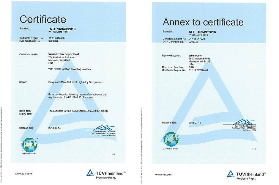 Winsert IATF 16949:2016 certificate
