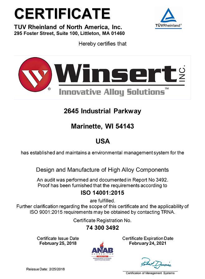 Winsert ISO 14001:2015 Certficate