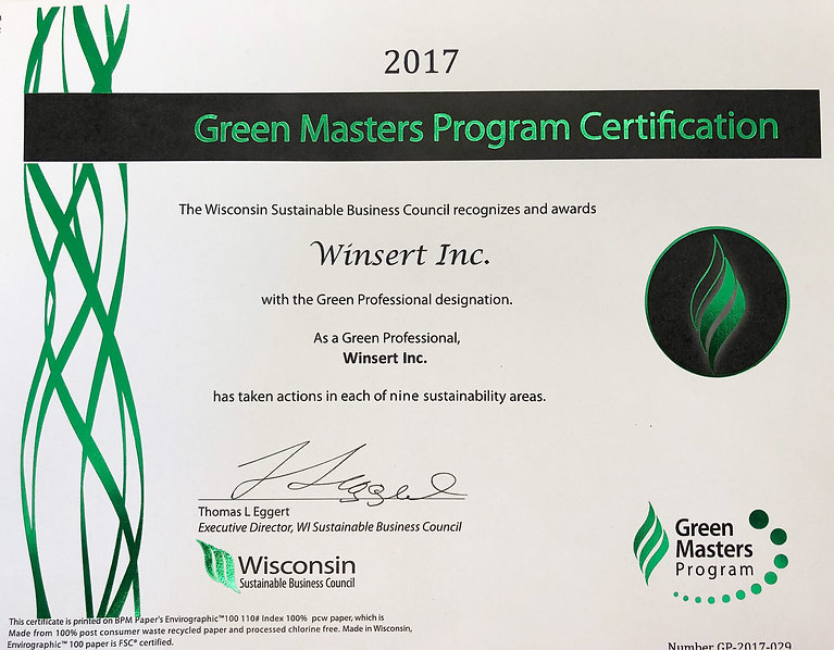 Winsert Green Masters Certificate