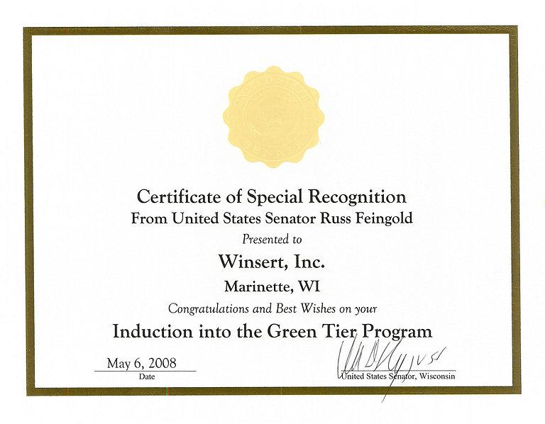 Winsert Green Tier Program certificate