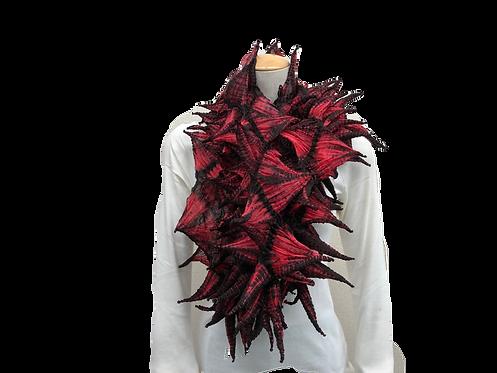 手蜘蛛絞りスカーフ 赤黒