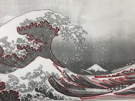 絞り染め神奈川沖浪裏#5 The great wave off Kanagawa