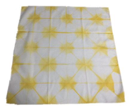 Handkerchief Itajime shibori yellow