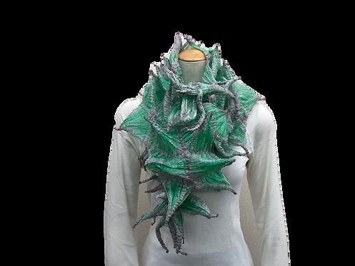 手蜘蛛絞りスカーフ グリーンピンク