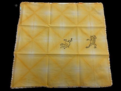 鳥獣戯画ハンカチ 黄