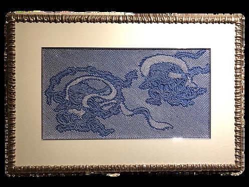 shibori picture wind god and thunder god blue