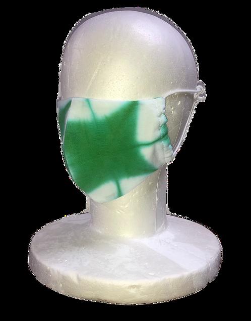 Shibori mask, itajime shibori, green