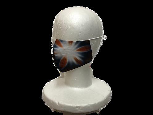 雪花絞りマスク 紺×茶 Sサイズ