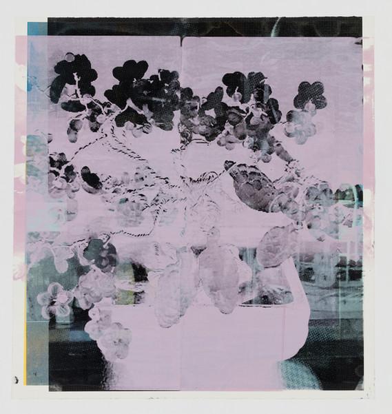 "Title: 멈춰진 시간 속에서, 꽃화분 I Year: 2019 Material: Silkscreen printing on BFK paper Size: 36""Hx34""W (92cmx86.5cm)"