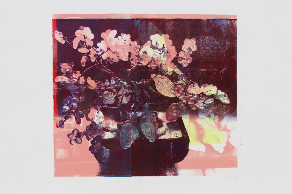 "Title: 멈춰진 시간 속에서, 꽃화분 II Year: 2019 Material: Silkscreen printing on BFK paper Size: 37""Hx42""W(94.5cmx106cm)"
