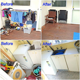 Decluttered laundry and deck