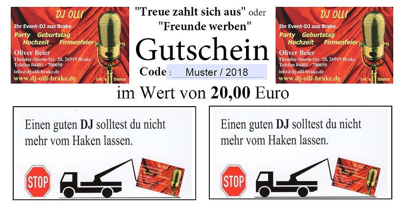 Gutschein, DJ Brake, DJ Wesermarsch, DJ Oldenburg