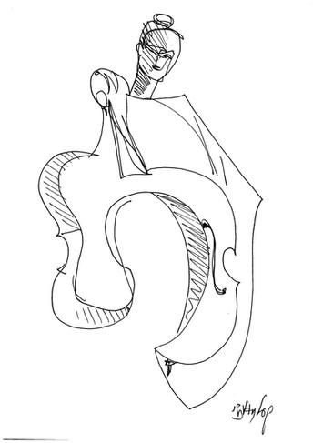 אישה מנגנת צ'לו