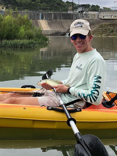 Wes' first Guadalupe Bass on the fly. #h