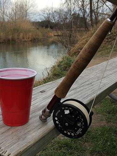 Texas camping ... Red wine, red solo, fl