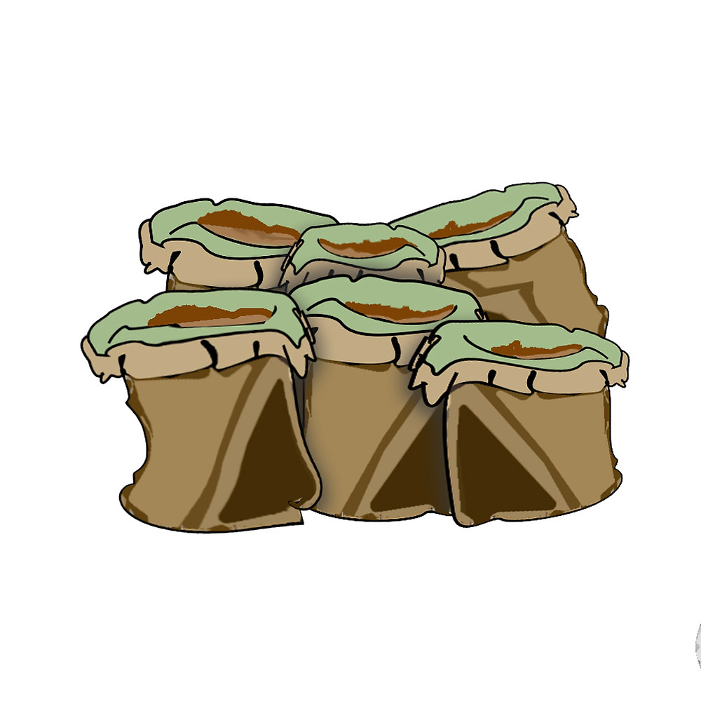 Bags of cacao or cocoa beans