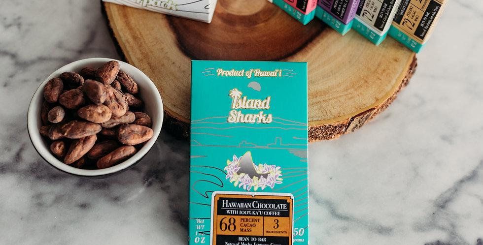 68% Hawaiian Cacao and 100% Ka'u Coffee