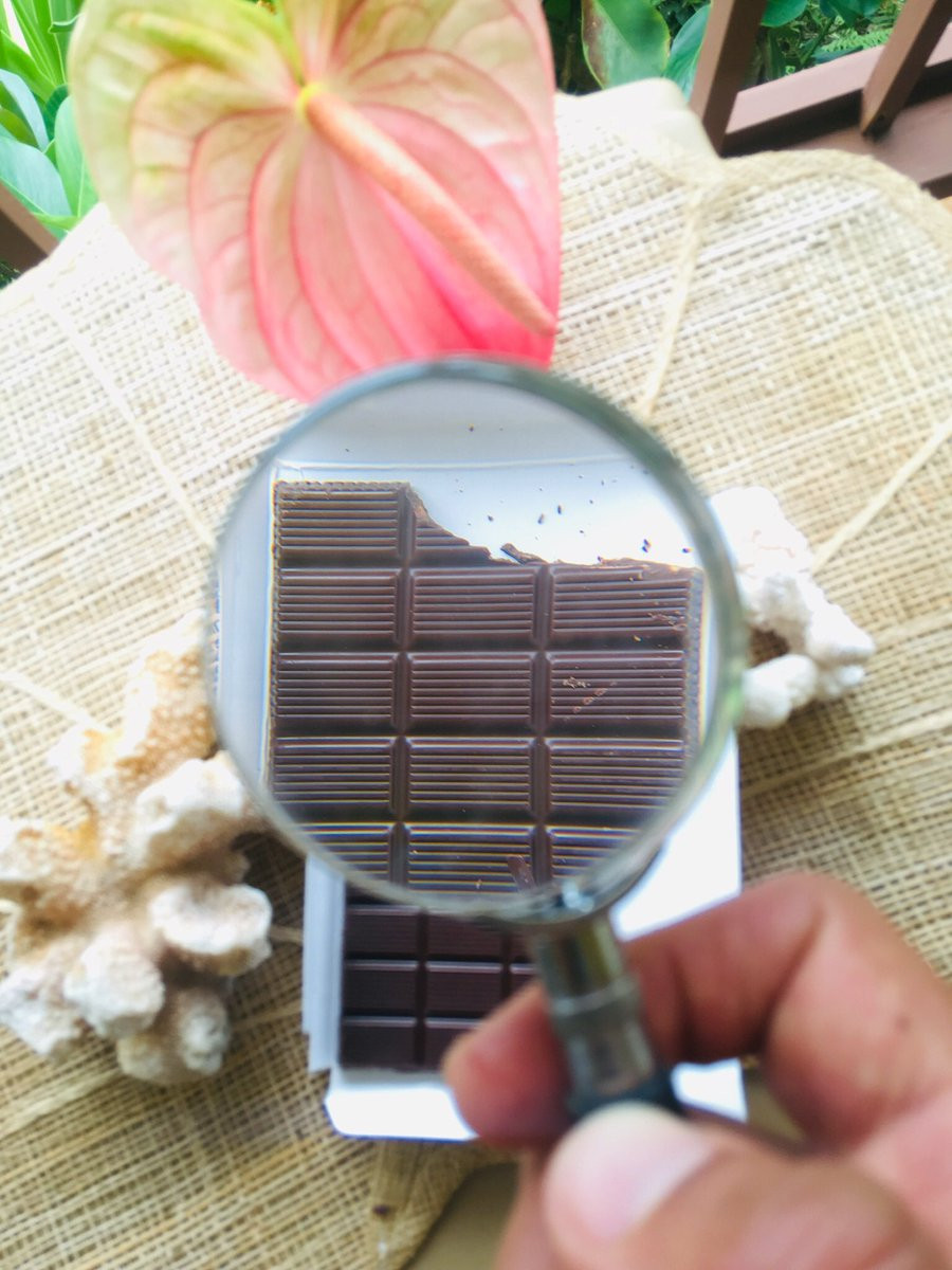 A chocolate with magnifying glass
