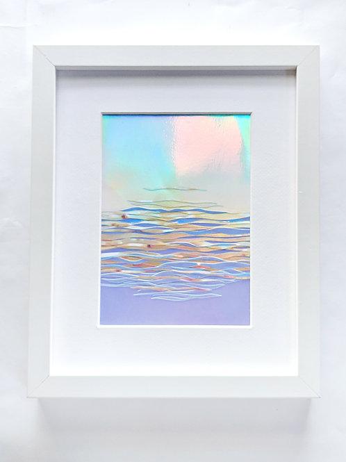 "Blue Sky Horizon, 5"" x 7"" collage, 8"" x 10"" frame"