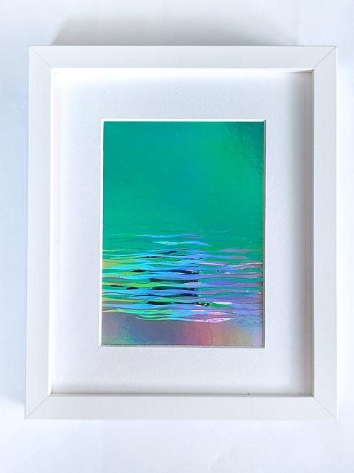"Mermaid Sky Horizon, 5"" x 7"" collage, 8"" x 10"" frame"
