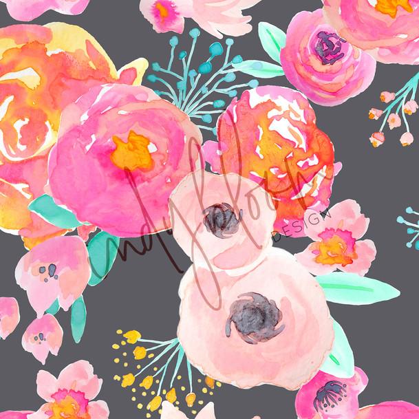 Blush florals Grey