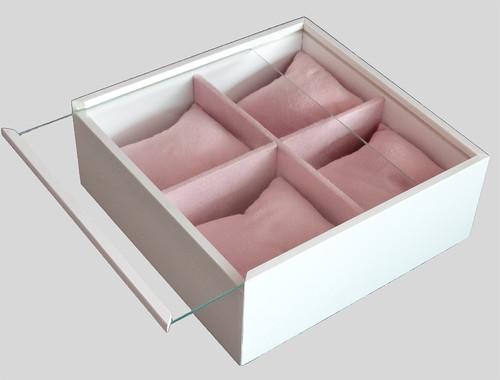 b6186467a31 Porta Relógio c/4 divisões Branco/Rosa - PD 22001