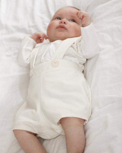 Culotte courte à bretelles Simon - Lin blanc