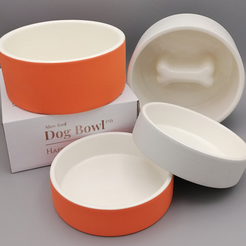 Cooling Water Bowl/Slow Feed Food Bowl (Orange/Concrete)