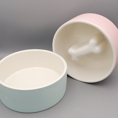 Cooling Water Bowl/Slow Feed Food Bowl (Blue/Pink)
