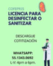 Licencia sanitaria sanitización desinfección cofepris