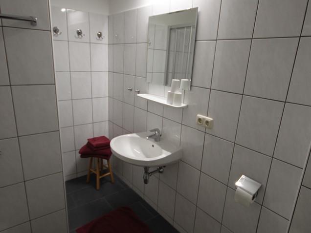 Badezimmer in der Pension Aberger