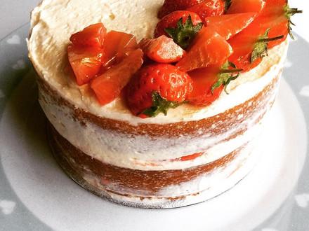 Prosecco and strawberry celebration cake