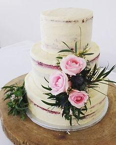 Red velvet with vanilla buttercream wedding cake