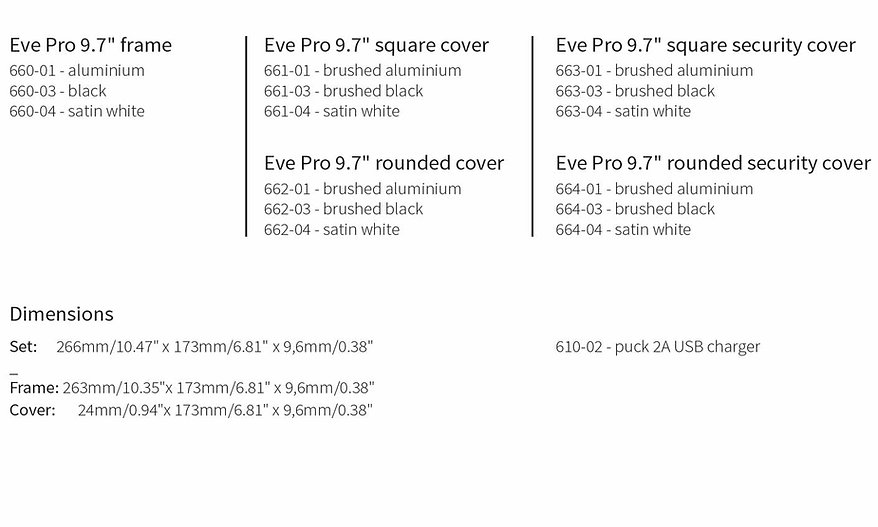 """Teksnisk informasjon Eve Pro 9.7"""" for iPad  Pro 9.7"""" fra Basalte"""
