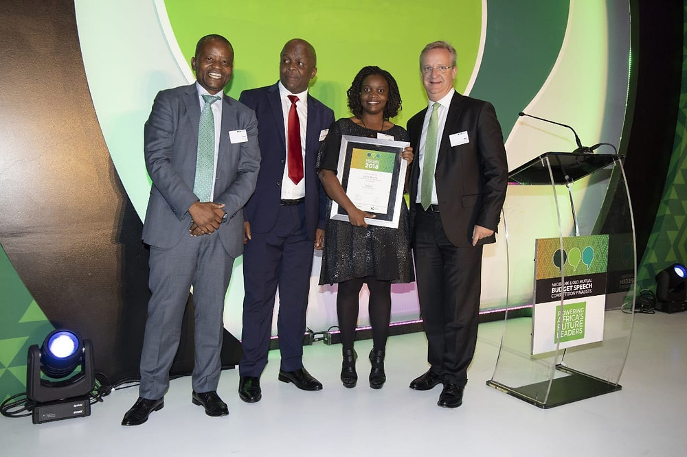 From left to right, Peter Moyo CEO Old Mutual, Mondi Gungubele Deputy Finance Minister, Esther Bosha Economist KASI Insight, Mike Brown CEO Nedbank