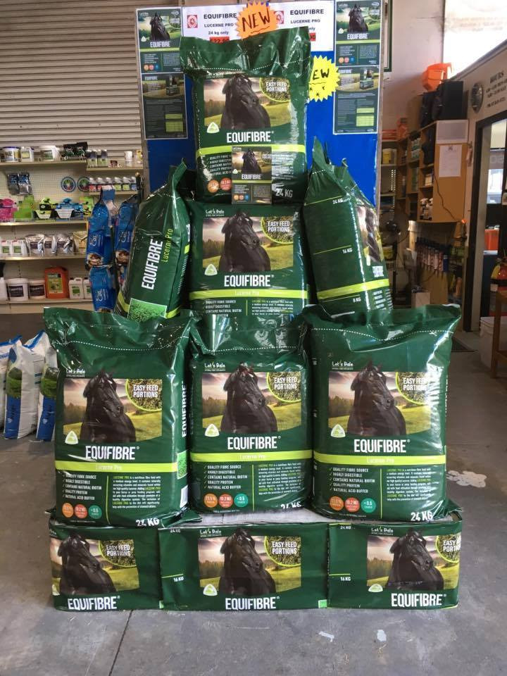 Horse feed in store