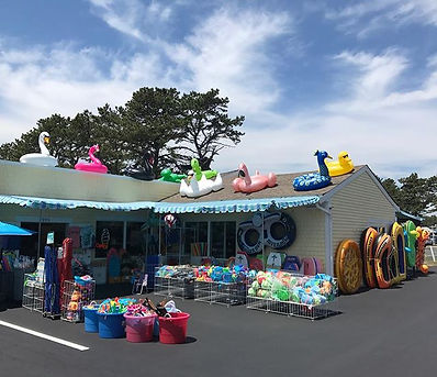 Marconi's Beach Outfitters outside display wellfleet