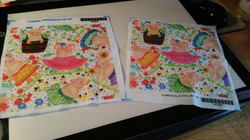 Fabric swatches of my Dancing Pigs