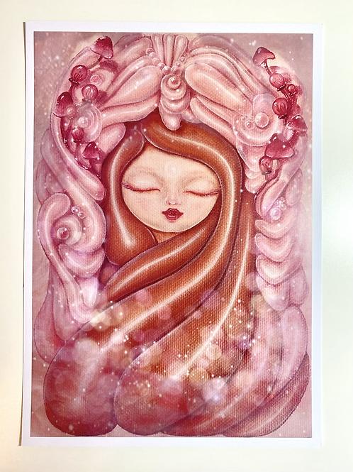 Pink Kodama with Clouds Print - A4 Gloss