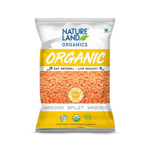 Masoor Dal Split Washed - Natureland Organics - 500 gm