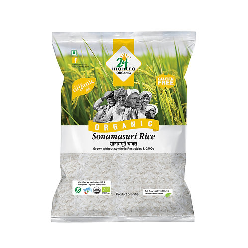 Sonamasuri Rice White Raw - 24 Mantra Organic - 1 kg